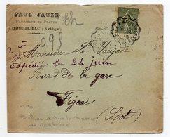 """1918--Lettre Pour Figeac-46 -type Semeuse-cachet Ambulant """"Toulouse à Ax Les Thermes""""--Paul JAUZE-Bédeilhac-09 - Storia Postale"""