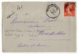 """1909--Lettre Pour FONDETTES-37-type Semeuse-cachet Ambulant """" Tours Au Mans """"- - Storia Postale"""