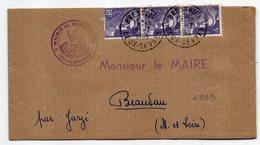 1953--Bande De Journal De BRESSUIRE-79 Pour BEAUVAU-49-type Marianne Gandon-cachet Mairie Bressuire - Storia Postale