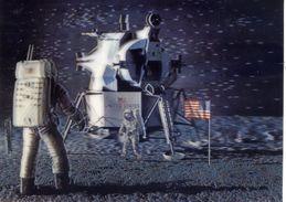 Conquête Spatiale - LUNAR  Landing 3D Relief Lenticular Hologramme - Cartes Postales