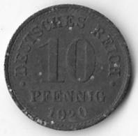 Germany 1920 10 Pfennig [C241/1D] - [ 2] 1871-1918 : German Empire