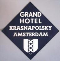 HOTEL MOTEL RESIDENCE PENSION AMSTERDAM KRASNAPOLSKY HOLLAND NETHERLANDS DECAL STICKER LUGGAGE LABEL ETIQUETTE AUFKLEBER - Etiketten Van Hotels