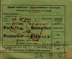 COUPONS COMBINABLES..CHEMINS DE FER FRANCAIS DE P.L.M.. PARIS PONTARLIER.. .PONTARLIER PARIS - Titres De Transport