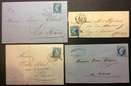 PL186 Paris Étoile Enghien X 2 + Pl.de La Bourse + 20 St Domque Lettres «Cristal Baccarat - Caillet-Donop» - 1849-1876: Classic Period