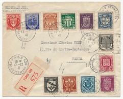 Enveloppe Rec De Paris 108 - Affr Série Complète Armoiries Des Villes De 1941 - France