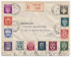 Enveloppe Rec De Paris 108 - Affr Série Complète Armoiries Des Villes De 1942 - France