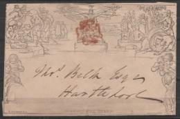 """Enveloppe MULREADY One Penny Oblr Rouge Croix De Malte (au Dos: Càd """"PONTERFRACHT / AU 7 / 1840"""") - 1840 Mulready Omslagen En Postblad"""