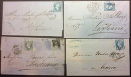 PL188 Paris Étoile Enghien + Pl.de La Bourse + Lettres «Brisset Noailles-Fauconnier- Caillet-Donop» - 1849-1876: Classic Period