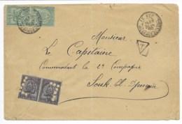 Env  Cad LE KEF  22 Juin 1898 Taxée Pour SOUK EL DJEMAA  TB - Tunisia (1888-1955)