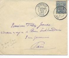 Env  Cad  GERVILLE ORAN  29 Juil 1896 Pour PARIS  TB - Postmark Collection (Covers)