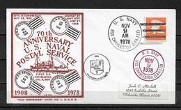 US NAVY 1978 Rare Cachet 70th Anniv Of U.S. NAVAL Postal Service (RN-6) - Event Covers