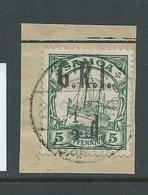 Samoa 1914 GRI 1/2d On 5pf Green Kaiser's Yacht FU On Piece - Samoa