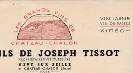 Joseph TISSOT/ Grands Vins Château-Châlon /Vin Jaune /Facture 10 Bouteilles De Vin De Paille /39 Névy Sur Seille /Jura - France