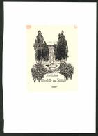 Exlibris Von Paul Von Haken-Kuhlmann Für Charlotte Von Strantz, Schlosspark Mit Statue - Exlibris