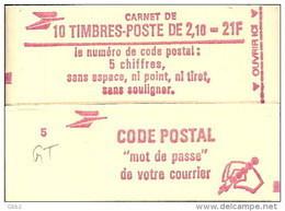 """CARNET 2319-C 1a Liberté De Delacroix """"CODE POSTAL"""" Conf. 7 Fermé Bas Prix Parfait état RARE - Carnets"""