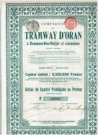 ALGERIE-TRAMWAY D'ORAN A HAMMAM-BOU-HADJAR & Extensions - Actions & Titres