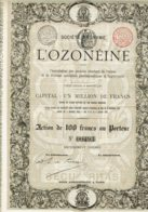 BELGIQUE-OZONEINE. Ozone, Hygiène, Pharmacie.  BRUXELLES. Action 1894 - Aandelen