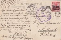 Cachet Militaire 18/6/1915 Sur Carte Postale Bruxelles  Pour Stuttgart - [OC1/25] General Gov.