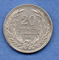 Hongrie - 20 Filler 1893 KB --   Km # 483   -  état   TTB+ - Ungheria
