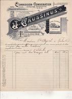 Commission Consignation Expedition Exportation FRUITS  D'ESPAGNE  J CAUSSINUS  Place Arnaud Bernard Toulouse 1907 - Alimentaire