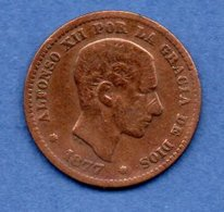 Espagne -5 Centimos 1877 OM --   Km # 674  -  état   TB - Premières Frappes