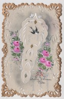 CPA Fantaisie Decor Peint à La Main  Celluloid Ajourée / Fleurs / Fleur / Oiseau / Oiseaux - Fancy Cards