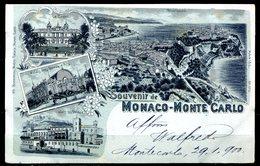 CARTOLINA CV2305 MONACO MONTECARLO Souvenir De… Tipo Gruss Aus, 1900 Viaggiata Per L'Italia, Formato Piccolo, Francoboll - Monte-Carlo