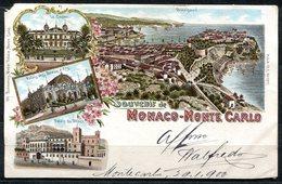 CARTOLINA CV2306 MONACO MONTECARLO Souvenir De… Tipo Gruss Aus, 1900 Viaggiata Per L'Italia, Formato Piccolo, Francoboll - Monte-Carlo