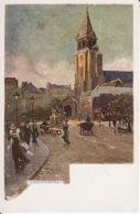 D65Paris, St Germain Des Pres (carte Postale D'une Peinture De Paul De Frick 1864-1935) - Paintings