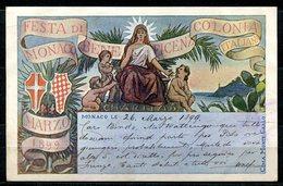CARTOLINA CV2310 MONACO Festa Di Beneficenza Colonia Italiana, 1899 Viaggiata Per L'Italia, Formato Piccolo, Francobollo - Monaco