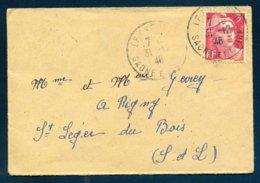 Dernier Jour Du Tarif 31 12 1946 Le Creusot Saône Et Loire 716 Gandon Seul 3F Mignonnette 11.1 X 7.6 Voyagé Fermée - Marcophilie (Lettres)