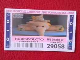 SPAIN DÉCIMO CUPÓN DE OID LOTERÍA LOTTERY LOTERIE PELUCHES STUFFED ANIMALS JUGUETES TOYS ELEFANTES ELEPHANTS ELEPHANT VE - Billetes De Lotería