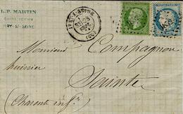 23 Sept. 1871 - Partie De Lettre D'IVRY-S-SEINE ( Seine ) Cad T17 Zffr. N°20 Et 37 Oblit  P C Du G C 1852 - Marcophilie (Lettres)