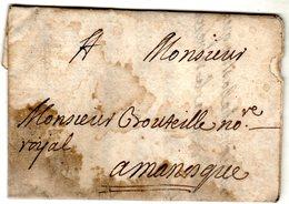 Lettre Envoyée D' AIX 1728 à Manosque à BOUTEILLE Notaire Royal - Marcophilie (Lettres)