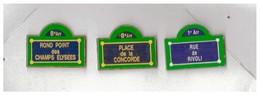 3 Pin's : Paris. Panneaux D'indications. - Steden