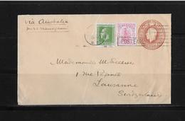 1927 NEUSEELAND → GU-Brief Mit Zusatzfrankatur Nach Lausanne/Schweiz  ►RAR◄ - Entiers Postaux