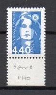 - FRANCE Variété N° 2818a - 4 F. 40 Bleu Marianne De Briat 1993 - SANS PHOSPHORE - Cote 250 EUR - - Variétés Et Curiosités
