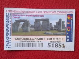 SPAIN DÉCIMO CUPÓN DE OID LOTERÍA LOTTERY LOTERIE ELEMENTOS ARQUITECTÓNICOS DINTEL MONUMENTS STONEHENGE O SIMILAR VER FO - Billetes De Lotería