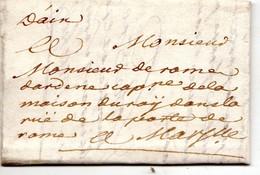 """Lettre Marque Manuscrite """" D'Aix """" Envoyée à  Marseille 1734 - Marcofilie (Brieven)"""