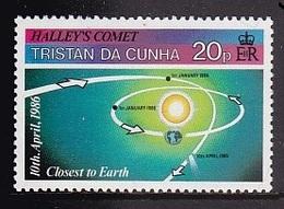 TIMBRE NEUF DE TRISTAN DA CUHNA - ORBITES DE LA TERRE ET DE LA COMETE DE HALLEY N° Y&T 381 - Astronomie