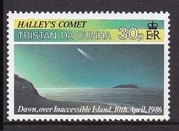 TIMBRE NEUF DE TRISTAN DA CUHNA - LA COMETE DE HALLEY, VUE DES ILES N° Y&T 382 - Astronomie