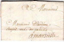"""Lettre Envoyée De """" LA SEINE """"  ( La Seyne )1734  à Marseille - Marcofilie (Brieven)"""