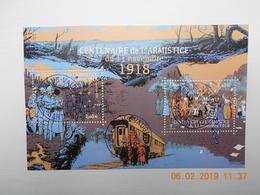 FRANCE 2018 YTN°   FEUILLET  CENTENAIRE DE L'ARMISTICE Du 11 Novembre 1918  Timbre Neuf Oblitéré Cachet Rond - Oblitérés
