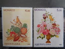 """MONACO 1992  Y&T N° 1830 & 1831 ** - EXPOSITION """" AMERIFLORA """" A COLOMBUS - Monaco"""