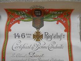 Certificat De Bonne Conduite 146 Eme Regiment Infanterie Saint Avold - 1914-18