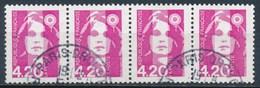France - Marianne De Briat 4,40 Rose YT 2770 Obl (bande De 4 Horizontale) - 1989-96 Marianne Du Bicentenaire