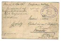 Guerre 14 18 ALEXANDRIE Egypte CAD CORRESPONDANCE D'ARMEE ALEXANDRIE FR + Ovale Violet HOPITAL EUROPEEN 3.5.1915....G - Marcophilie (Lettres)