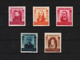 1943 - Hommes Celebres De Mi 777/781  MNH - 1918-1948 Ferdinand, Carol II. & Mihai I.