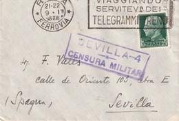ITALIE  1938 LETTRE CENSUREE DE ROMA POUR SEVILLA - Marcophilie