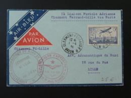Lettre Premier Vol 1ere Liaison Postale Clermont Ferrand Puy De Dome Pour Lille Air Bleu 1936 - Marcophilie (Lettres)